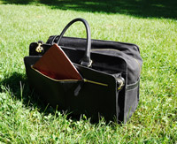 Briefcase on grass